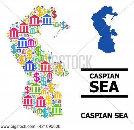 Bright Colored Finance And Business Mosaic And Solid Map Of Caspian Sea. Map Of Caspian Sea Vector M