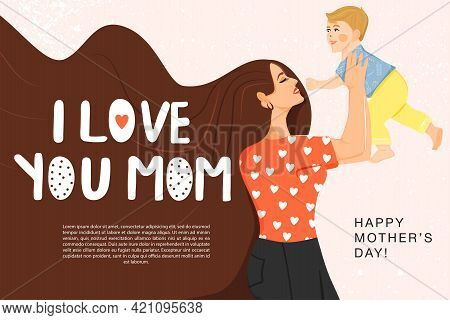 Happy Mother's Day Greeting Banner. Beautiful Mother With Her Son And Stylish Lettering. Mom Holds C