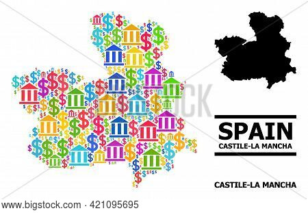 Colored Financial And Commerce Mosaic And Solid Map Of Castile-la Mancha Province. Map Of Castile-la