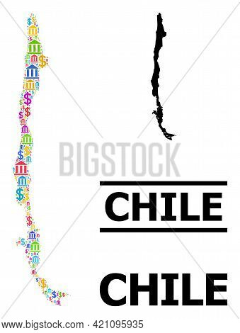 Bright Colored Financial And Dollar Mosaic And Solid Map Of Chile. Map Of Chile Vector Mosaic For Pr