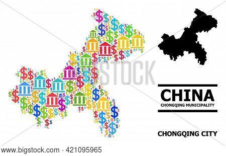 Colored Finance And Business Mosaic And Solid Map Of Chongqing Municipality. Map Of Chongqing Munici