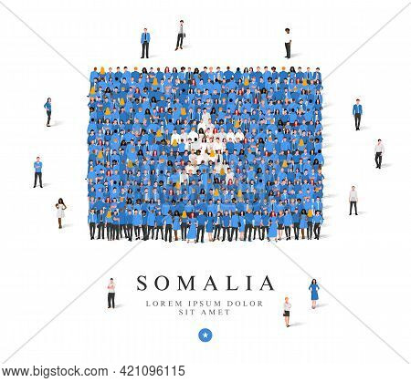 A Large Group Of People Are Standing In Blue And White Robes, Symbolizing The Flag Of Somalia. Vecto