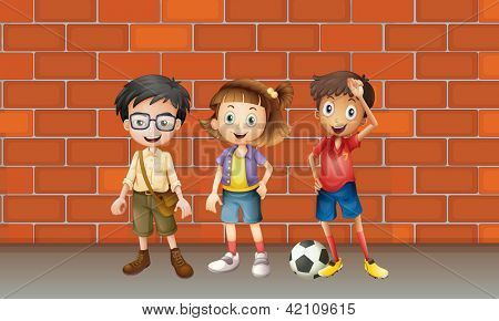 Illustration of boys and a girl standing in front of wall