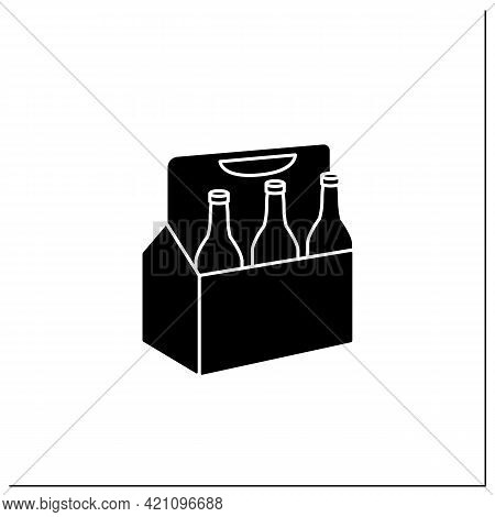 Beer Glyph Icon. Comfortable Box For Beer. Portion Control. Convenience In Distribution, Delivery.pa