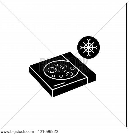 Frozen Pizza Glyph Icon. Tasty Food In Carton Box. Protection, Tampering Resistance From Bacteria. P