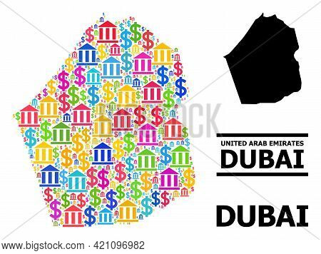 Bright Colored Bank And Money Mosaic And Solid Map Of Dubai Emirate. Map Of Dubai Emirate Vector Mos
