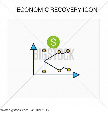 K Shaped Recovery Color Icon. Economy Fluctuations. Different Economy Parts Recover At Different Rat