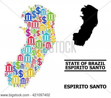 Colorful Bank And Dollar Mosaic And Solid Map Of Espirito Santo State. Map Of Espirito Santo State V