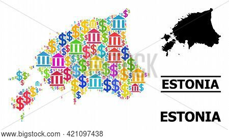 Colored Bank And Commercial Mosaic And Solid Map Of Estonia. Map Of Estonia Vector Mosaic For Promot