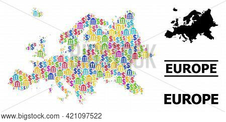 Bright Colored Bank And Business Mosaic And Solid Map Of Europe. Map Of Europe Vector Mosaic For Pro