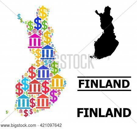 Colored Bank And Dollar Mosaic And Solid Map Of Finland. Map Of Finland Vector Mosaic For Ads Campai