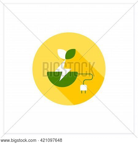 Biomass Energy Flat Icon. Organic Energy Generation. Produced By Living Or Once-living Organisms. Po