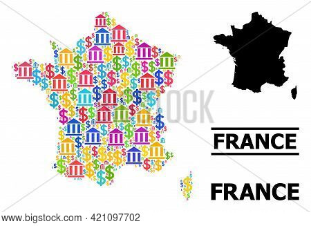 Colored Bank And Economics Mosaic And Solid Map Of France. Map Of France Vector Mosaic For Promotion