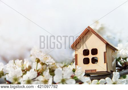 Toy Wooden House And Cherry Flowers. Spring Natural Background And Copy Space. Blooming Tree. Concep