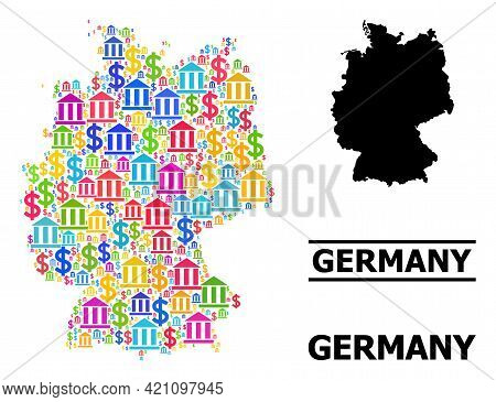 Colorful Bank And Business Mosaic And Solid Map Of Germany. Map Of Germany Vector Mosaic For Busines