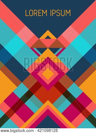 Chequered Cover Page Layout Vector Template Geometric Design With Triangles And Stripes Pattern. Car