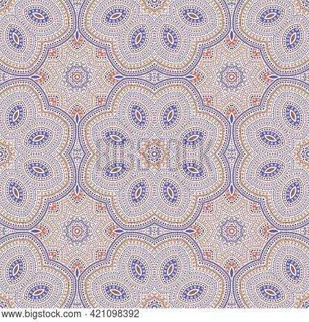 Muslim Authentic Mosaic Vector Seamless Motif. Batik Patchwork Design. Retro Azulejo Ornament. Porce