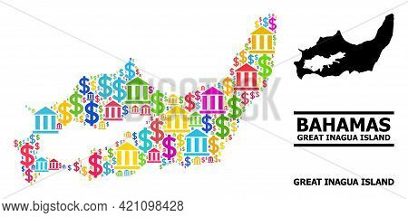 Bright Colored Finance And Commerce Mosaic And Solid Map Of Great Inagua Island. Map Of Great Inagua