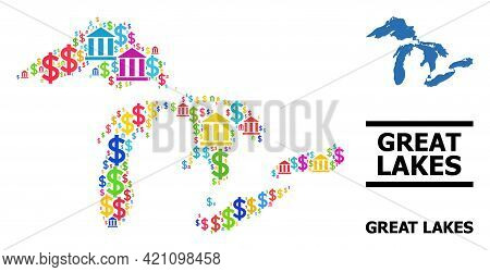 Vibrant Bank And Commerce Mosaic And Solid Map Of Great Lakes. Map Of Great Lakes Vector Mosaic For