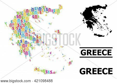 Bright Colored Finance And Dollar Mosaic And Solid Map Of Greece. Map Of Greece Vector Mosaic For Pr