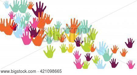 Creative Kids Handprints Preschool Education Concept Background Design. Toddler Paint Hand Prints Ar