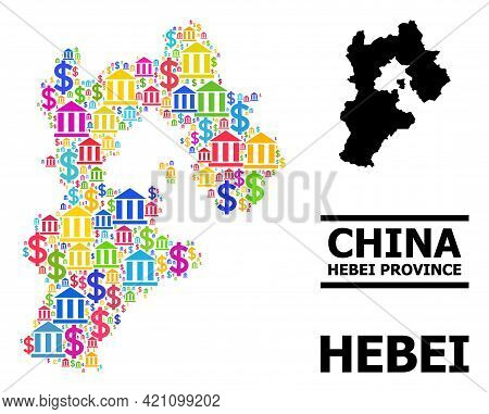 Colored Bank And Dollar Mosaic And Solid Map Of Hebei Province. Map Of Hebei Province Vector Mosaic