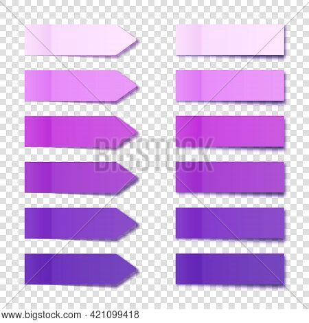 Realistic Purple Sticky Notes Collection. Arrow Flag Tabs. Post Note Stickers. Colorful Sticky Paper