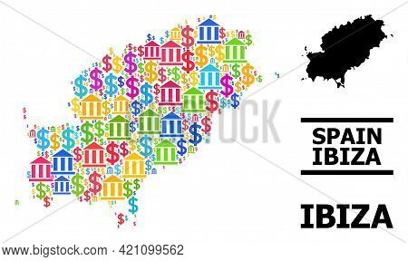 Colored Banking And Dollar Mosaic And Solid Map Of Ibiza Island. Map Of Ibiza Island Vector Mosaic F