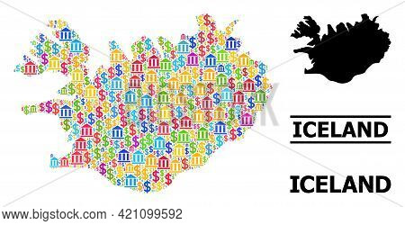 Vibrant Bank And Commerce Mosaic And Solid Map Of Iceland. Map Of Iceland Vector Mosaic For Advertis