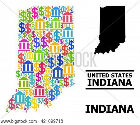 Colorful Bank And Business Mosaic And Solid Map Of Indiana State. Map Of Indiana State Vector Mosaic