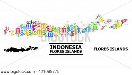 Colored Bank And Business Mosaic And Solid Map Of Indonesia - Flores Islands. Map Of Indonesia - Flo