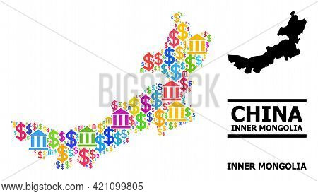 Colorful Bank And Dollar Mosaic And Solid Map Of Inner Mongolia. Map Of Inner Mongolia Vector Mosaic