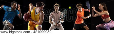 Collage Of Different Professional Sportsmen, Fit People In Action And Motion Isolated On Black Backg