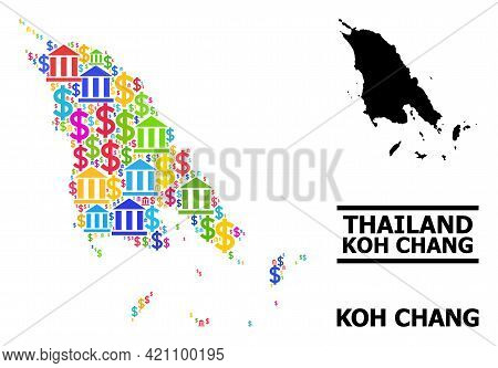 Colorful Bank And Dollar Mosaic And Solid Map Of Koh Chang. Map Of Koh Chang Vector Mosaic For Adver