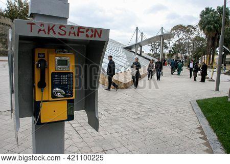 Azerbaijan, Baku - Nowember 2009: Payphone On The Street Of Baku. Azerbaijan, Baku. Nowember 2009