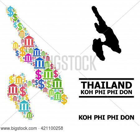 Bright Colored Bank And Dollar Mosaic And Solid Map Of Koh Phi Don. Map Of Koh Phi Don Vector Mosaic