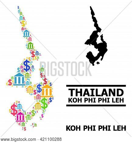 Colored Bank And Economics Mosaic And Solid Map Of Koh Phi Leh. Map Of Koh Phi Leh Vector Mosaic For