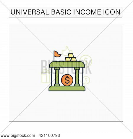 Sovereign Wealth Funds Color Icon. Investment Fund Place. Tax Storage.universal Basic Income Concept