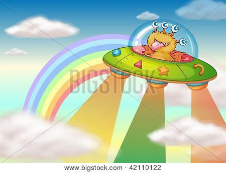 Illustration of a smiling monster in a flying machine