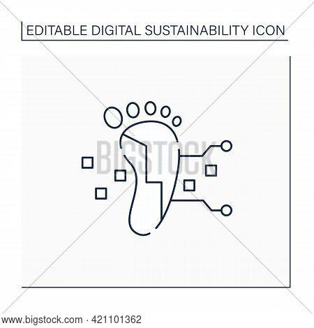 Digital Footprint Line Icon. Unique Actions On Internet, Devices.digital Shadow.data Trail. Digitiza