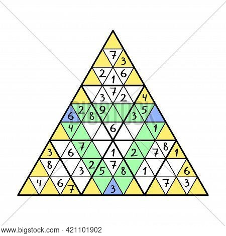 Triangle Sudoku Colorful Game Stock Vector Illustration. Place 1-9 Numbers Into Empty Cells - In Eac