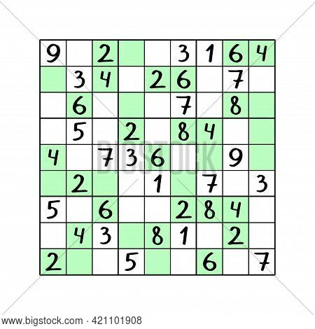 Odd-even Sudoku Game For Kids Stock Vector Illustration. Complete Sudoku Puzzle By Odd Numbers On Wh