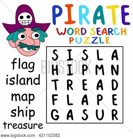 Pirate Word Search Puzzle For Kids Stock Vector Illustration. Funny Word Game For Children With Hand