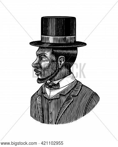 Elegant Man. Male Face. Afro American Gentlemen In Cylinder Hat. Victorian Era. Fashion And Clothes.