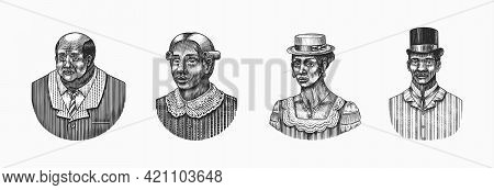 Elegant Man. Male Face. Afro American Gentlemen. Victorian Era. Fashion And Clothes. Businessman In