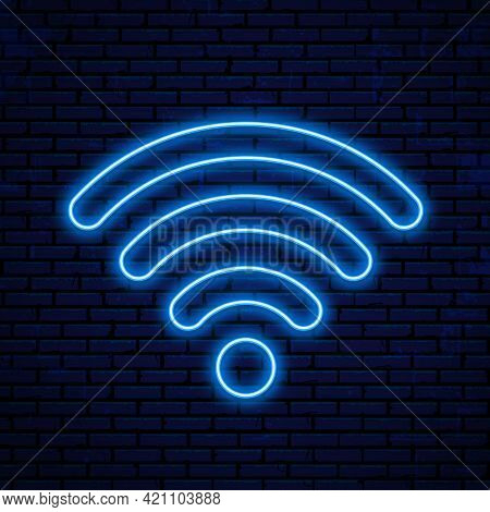 Neon Wifi Icon, Logo. Vector Glowing Wlan Access, Wireless Wifi Hotspot Signal Sign, Icon, Symbol.