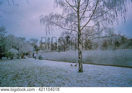 Budapest, Hungary - December 30, 2008: Winter Scene Of The City Park (varosliget), With Hot Water Po