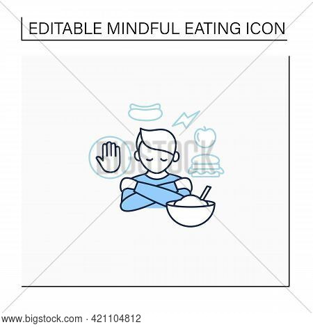 Mindful Eating Line Icon. Unconscious Nutrition. Overeating. Eat Through Loneliness. Healthcare Conc
