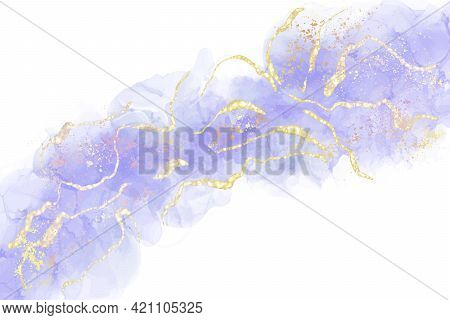 Mauve Liquid Watercolor Background With Golden Glitter Splash. Pastel Violet Marble Alcohol Ink Draw