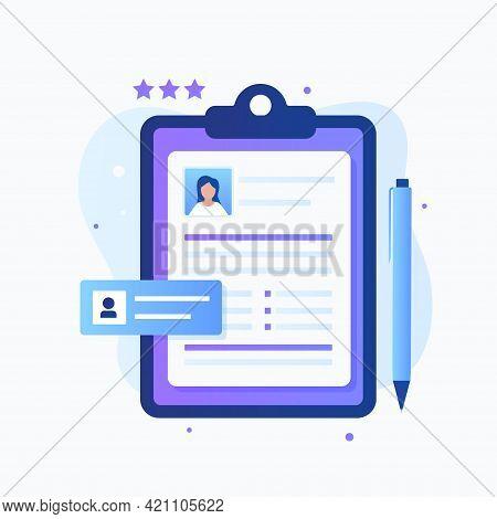 Flat Design Of Curriculum Vitae Concept. Illustration For Websites, Landing Pages, Mobile Applicatio